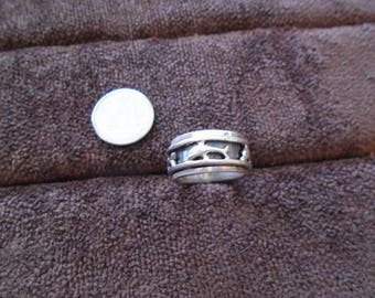 Swimming Dolphins Spinner Sterling Silver Ring Sz 6