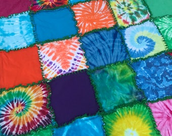 Tie dye rag quilt for sale