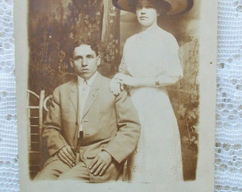 Vintage Real Photo Postcard Sepia RPPC, Young Married Couple, Mr & Mrs James Cobb (Aunt Ethel)