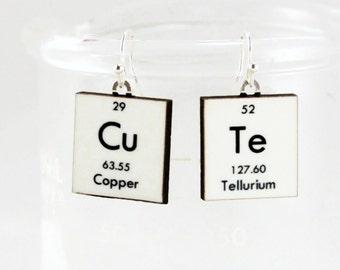 CuTe Science Earrings - Chemistry Periodic Table Nerd Geek Gift Idea