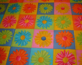 Colorful daisy patchwork cotton fabric