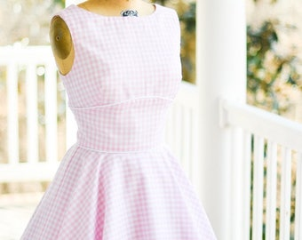 1950's, Vintage, pink, white, circle skirt, gingham, 100% Cotton, sleeveless, back V-neck, piping