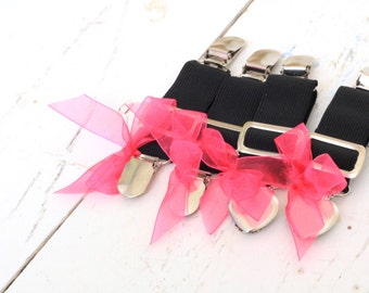 THIGH HIGH sock GARTERS - crocodile clips - onto shorts or knickers - pretty little bows - black garters - Gothic  sock  suspenders hot pink