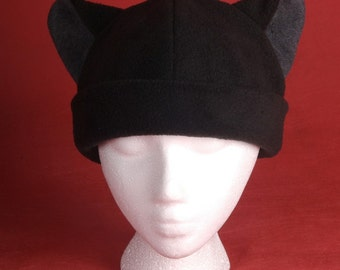 Cat Hat - Mens Womens Black / Gray Fleece Cat Ears by Ningen Headwear