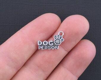 8 Dog Person Charms Antique Silver Tone - SC3328