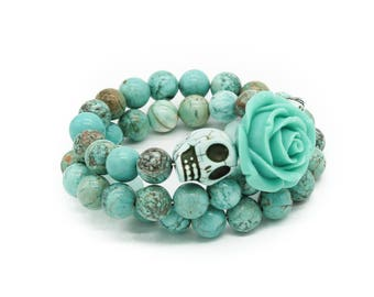Turquoise Skull and Rose Memory Wire Stacked Bracelet