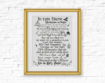 BOGO FREE! Harry Potter Cross Stitch Pattern, In This House We Do Harry Potter Quote xStitch, Hogwarts Modern, PDF Instant Download #016-8-4