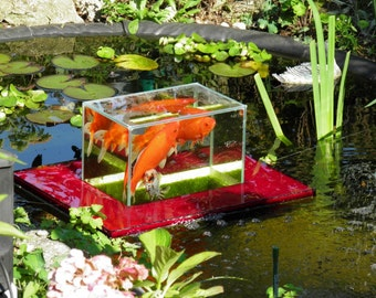 Flying-Aquarium-Linear 1200 rot Fish Observatory observation floating tank pond KOI Goldfish over water surface