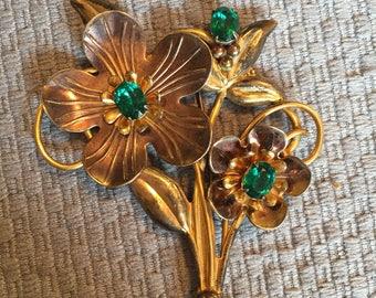 Flower Brooch, 12K Gold Filled and Sterling Silver Flower Bouquet Brooch, Emerald