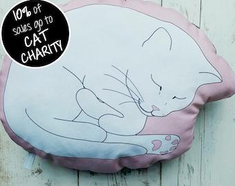 Sleeping Cat Cushion Pink; Sleeping Cat Pillow Pink; cat plushie; cat lover gift