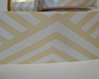 Ivory and Buttercream Stripe Ribbon, 9 Foot Roll Ribbon, 1.5 Inch Wide Ribbon