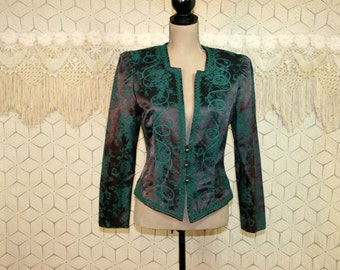 80s Cocktail Jacket Victorian Steampunk Jacquard Damask Womens Jackets Medium Large Eggplant Purple + Green Dressy 1980s Vintage Clothing
