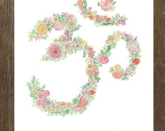 Grow + BlossOM - Yoga Greeting Card // OM Card // Spring Greeting Card // Blank Inside // Floral Greeting Card // Yoga Gifts