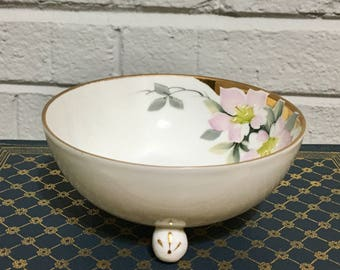 Hand Painted Nippon Dish with Pink Flowers