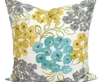 Teal YELLOW Pillow Cover, Gray Pillow, Pillow, Floral Pillow, Decorative Pillow, Gold, Gray, Blue Pillow, Cushion, Floral Cushion,16x16 inch