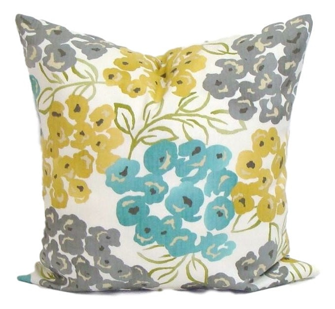 interior floral yellow pillows throw monumental pillow blue cushion cover teal and home