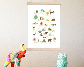 English Alphabet Print + Frame Kit 11x14 Nursery Wall Art, Animals abc poster, Kid's Decor, Gender Neutral Nursery, ABC poster, Tapestry Kit