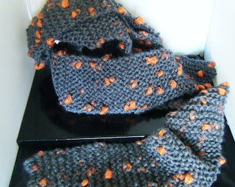 Extra Long Scarf Grey With Orange Spots