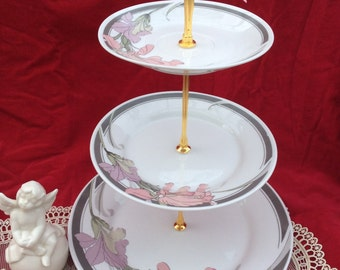 Wedding Cake Stand ,3 Tier Serving Tray,Fine China Sale, Jewelry Stand ,Wedding Centerpiece, ORCHID china, Floral Cake Stand