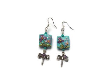 Floral Lampwork Bead Earrings Lampwork and Dragonfly Earrings Blue and Purple Amethyst Dangle E154