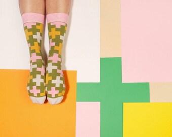 Cross Berries Greenery Socks,   Women's Socks in Yellow Grren Colors,  Colorful Socks with Cross Pattern