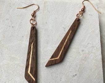 Wood Dangle Earrings - Wood Earrings - Wood Geometric Earrings - Walnut Wood Earrings - 5th Anniversary Gift - Hand Carved Earrings - PDX