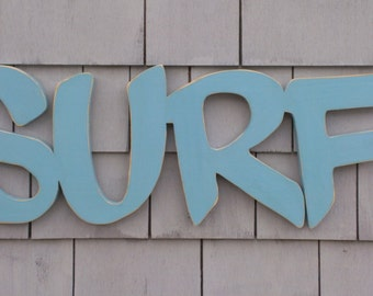 Surf Wood Sign Letters Word Art Beach Decor