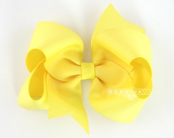 Girls Hair Bows, Lemon yellow hair bow, 4 inch hair bows, big hair bows, boutique bows, large hair bows, girl hair bows, toddler hairbows