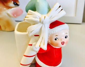 Vintage Lefton Napco Candy Cane Kids Girl Boy Christmas Green Blue Figurine Striped Midcentury Holiday Japan 1950's