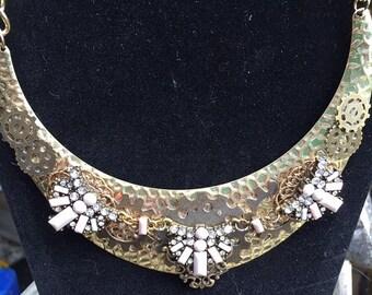 Steampunk Fantasy Art Deco Tribal Hammered Brass Collar Necklace