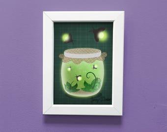 Firefly Print 5x7, lightning bug art, cute art, Fireflies art, cute print