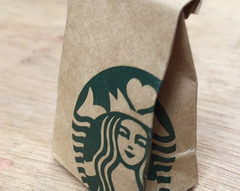 Miniature Starbucks Paper Bag,Miniature Bag,Dollhouse Starbucks,Dollhouse paper bag,Miniature Starbucks coffee,Dollhouse Starbucks coffee