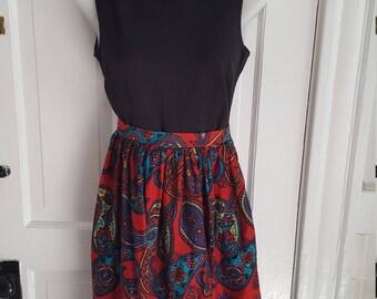 Floral Paisley Knee Length Skirt / Retro Skirt/ Midi Skirt