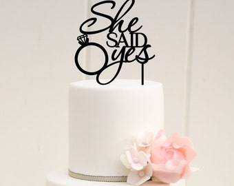 She Said Yes Cake Topper - Bridal Shower Cake Topper