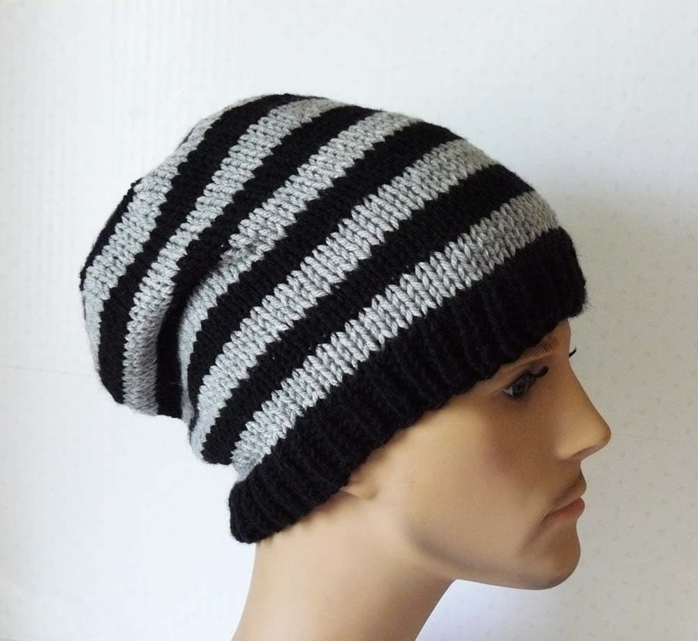 Knitting PATTERN, Knit Slouchy Beanie Pattern, Mens Knit Hats ...