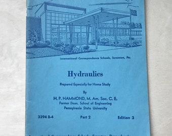 1968 Hydraulics Pamphlet, Vintage Book, Vintage Paper, Old Book, Vintage School Book, International Correspondence School, Junk Journal
