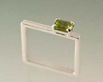 Colored Gemstone on Sterling Silver Square Ring ,  Peridot Emerald Cut Gemstone on slender Square Ring, Birthstone Silver Square Ring