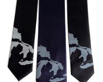 Great Lakes Necktie. Men's map tie: Michigan, Superior, Huron, Erie, Ontario. Silkscreen microfiber tie.