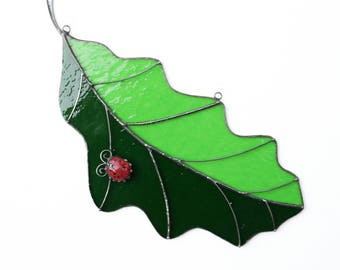 Handmade Suncatcher Stained Glass Oak Leaf with Ladybug Gift Glass art