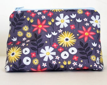 Periwinkle Blue Flowers Floral Zipper Makeup or Pencil Bag | Gifts Under 20 Dollars