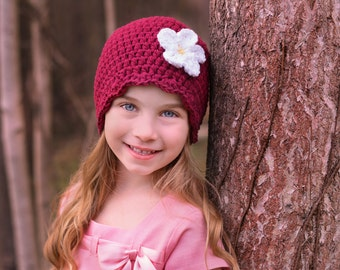 9 Sizes Red Wine Hat Baby Hat Baby Girl Hat Toddler Hat Toddler Girl Hat Womens Hat Crochet Flower Hat Red Hat 30 Flower Colors Red Beanie