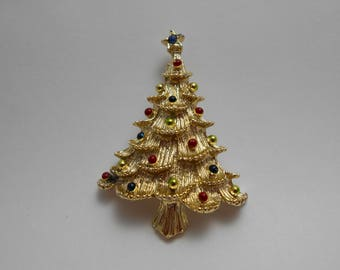 Vintage Christmas Gerry Tree Pin, Goldtone Tree Pin with Enamel Balls, Signed Gerry Christmas Tree Pin, Gift for Her