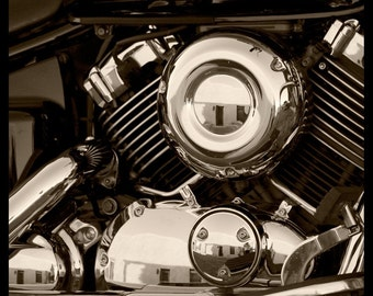 Sepia Motorcycle Photograph--Motorcycle Reflections--Fine Art