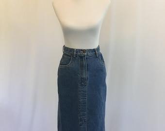 Vintage High Waist Denim Skirt//1990s Jean Skirt