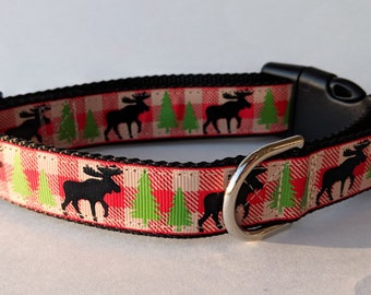 Moose Plaid Dog Collar / Christmas Dog Collar / Winter Dog Collar