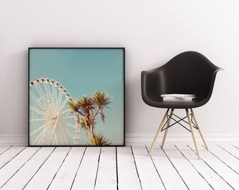 Palm Tree Print, Ferris Wheel Art, Summer Decor, Kids Room - The Height of Summer