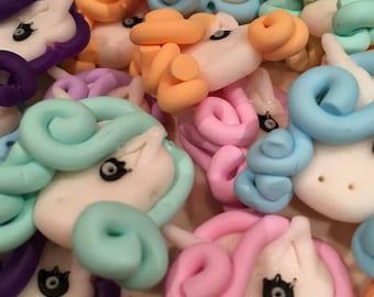 12 x Polymerclay Fimo Unicorn Beads charms flatbacks