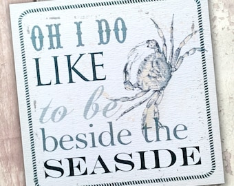 Crab card - beach card - Oh I do like - seaside greetings card