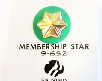 Vintage Girl Scout Memership Star on Original Card circa 1980's