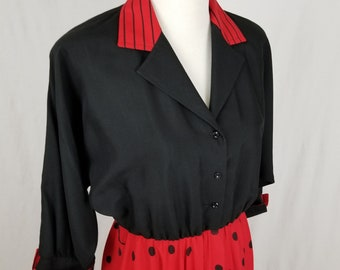Vintage Willi of California Rockabilly Retro Black & Red Polka Dot Swing Dress - Size 8